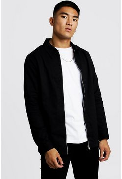 Mens Black Cotton Zip Through Overshirt
