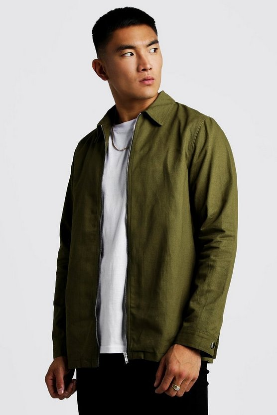 Mens Khaki Cotton Zip Through Overshirt