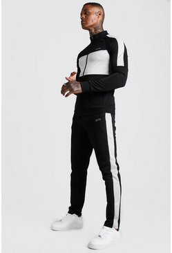 Black MAN Grey Colour Block Poly Tracksuit