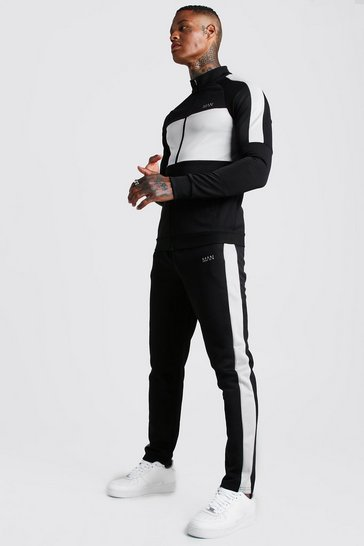 Mens Black MAN Grey Colour Block Poly Tracksuit