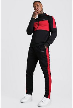 Mens Black MAN Red Colour Block Poly Tracksuit
