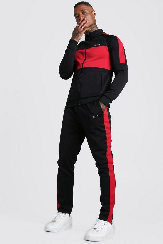 Man Red Colour Block Poly Tracksuit by Boohoo