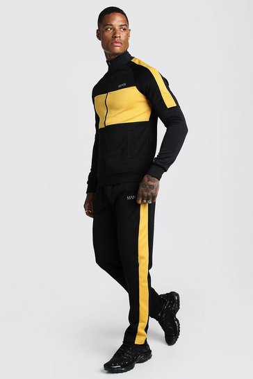 Mens Black MAN Mustard Colour Block Poly Tracksuit