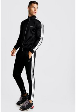 Mens Black Skinny Fit MAN Funnel Neck Tracksuit
