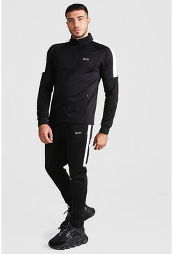 Mens Black MAN Reflective Panel Tracksuit