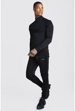 Mens Black Man Active Skinny Fit Biker Tracksuit