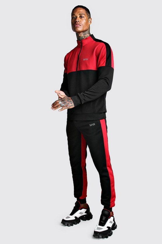 Black Skinny MAN Red Colour Block Poly Tracksuit
