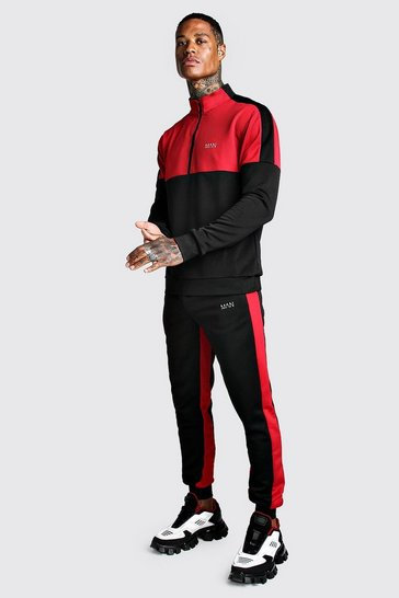 Mens Black Skinny MAN Red Colour Block Poly Tracksuit