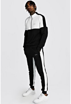 Black Skinny MAN White Colour Block Poly Tracksuit