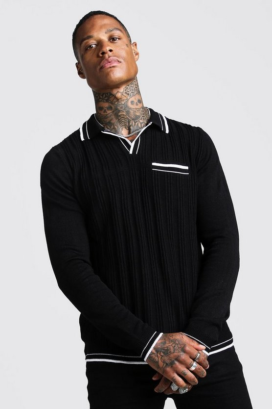 Mens Black Regular Fit Ribbed Long Sleeve Polo With Tipping