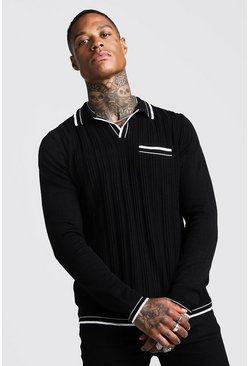 Herr Black Regular Fit Ribbed Long Sleeve Polo With Tipping
