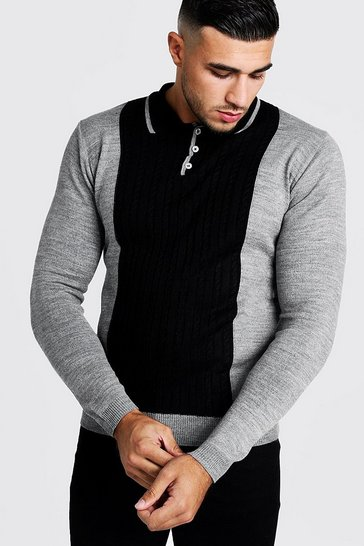 Mens Charcoal Regular Long Sleeve Knitted Cable Panel Polo