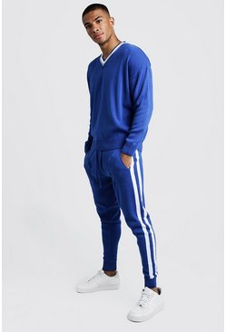 Mens Cobalt Loose V Neck Jumper & Jogger Stripe Detail Set