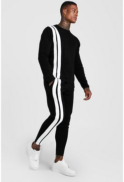 Mens Black Regular Knitted Jumper & Jogger Stripe Set