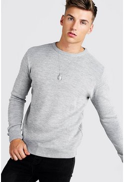 Mens Grey Regular Fit Crew Neck Jumper With Biker Detail