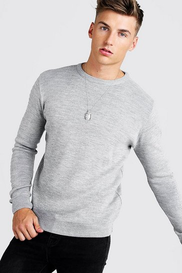 Grey Regular Fit Crew Neck Jumper With Biker Detail