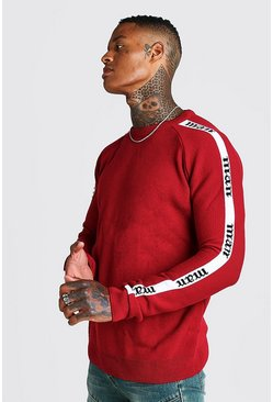 Mens Red MAN Regular Fit Side Tape Knitted Jumper