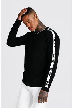 Mens Black MAN Regular Fit Side Tape Knitted Jumper