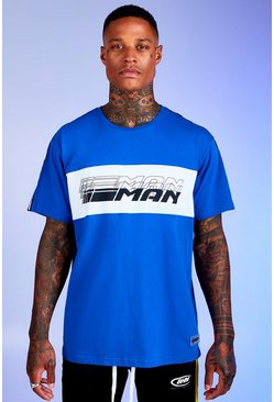 Mens Cobalt Deno Driz Loose Fit T-Shirt With MAN Tape