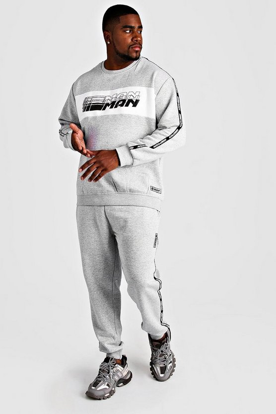 Grey marl Deno Driz Tracksuit With MAN Tape