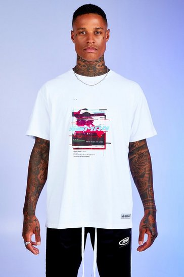 Mens White Deno Driz Loose Fit T-Shirt With Graphic Print
