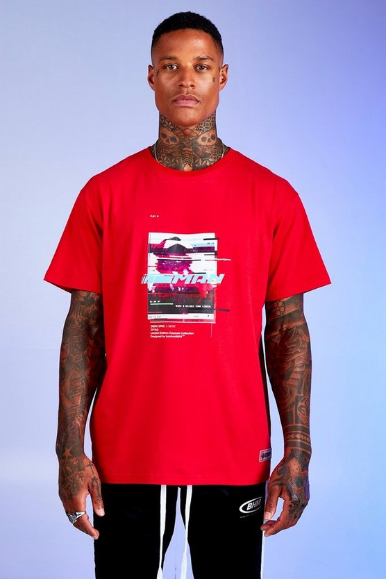 Mens Red Deno Driz Loose Fit T-Shirt With Graphic Print