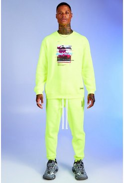 Mens Neon-green Deno Driz Tracksuit With Graphic Print