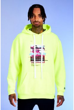 Herr Neon-green Deno Driz Loose Fit Hoodie With Print