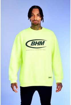 Neon-green Deno Driz Loose Fit Sweater With BHM Print