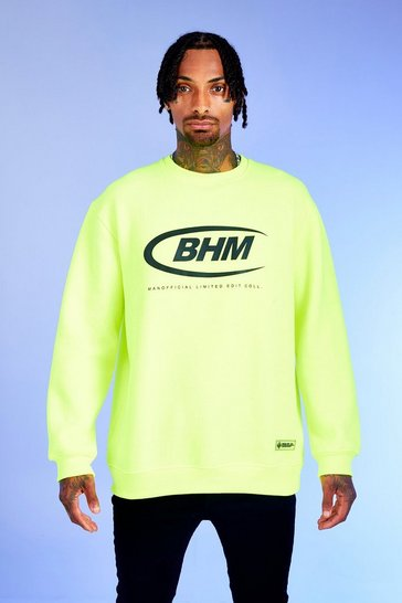 Mens Neon-green Deno Driz Loose Fit Sweater With BHM Print