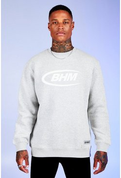 Herr Grey marl Deno Driz Loose Fit Sweater With BHM Print