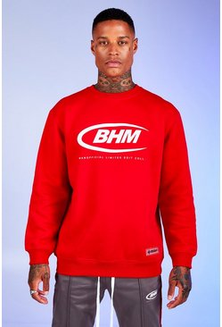 Mens Red Deno Driz Loose Fit Sweater With BHM Print