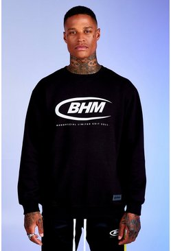 Black Deno Driz Loose Fit Sweater With BHM Print