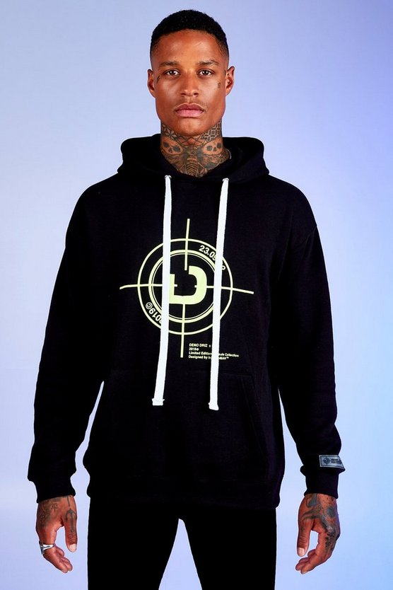 Black Deno Driz Loose Fit Hoodie With Target Print