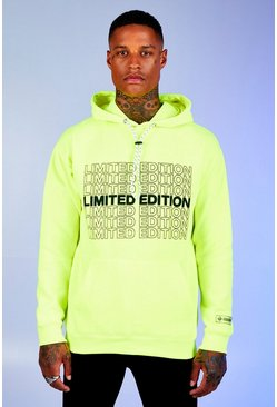 Neon-green Deno Driz Loose Fit Hoodie With Print
