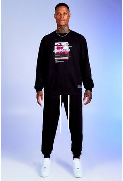 Mens Black Deno Driz Tracksuit With Graphic Print