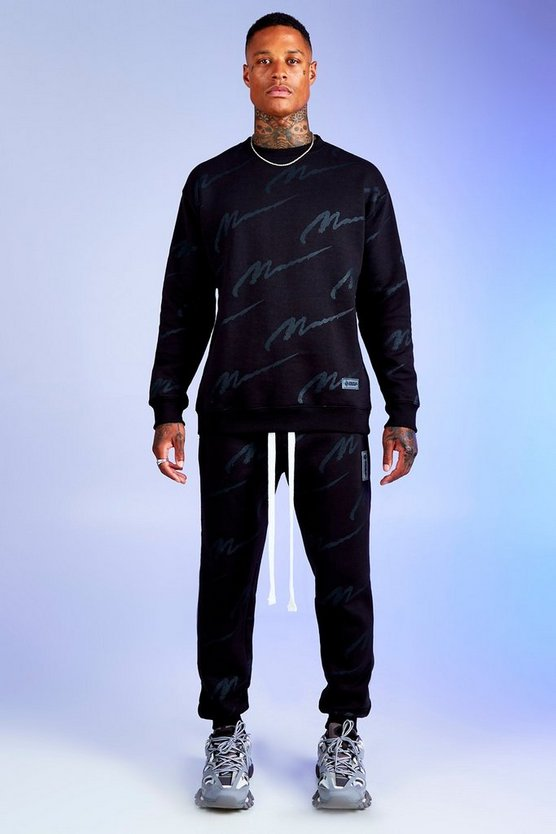 Mens Black Deno Driz Tracksuit with All Over MAN Print