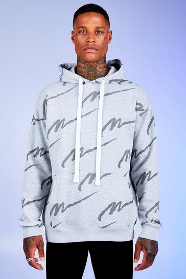 Mens Grey marl Deno Driz Loose Fit Hoodie With MAN Print