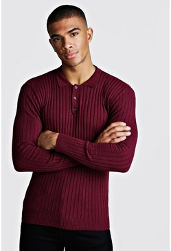Mens Wine Muscle Fit Long Sleeve Ribbed Knitted Polo