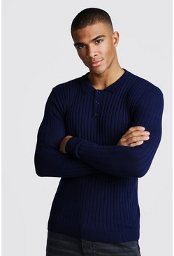 Mens Navy Muscle Fit Long Sleeve Ribbed Knitted Polo
