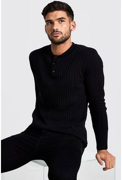 Herr Black Muscle Fit Long Sleeve Ribbed Knitted Polo