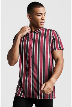 Burgundy Short Sleeve Stripe Shirt