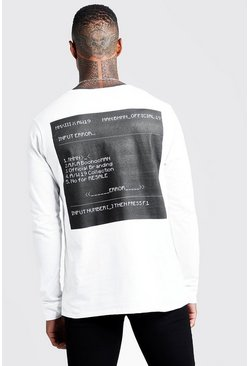 Herr White Long Sleeve Front & Back Print T-Shirt