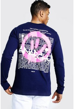 Mens Navy Long Sleeve Spray Paint Front & Back T-Shirt