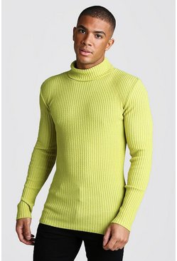 Herr Lime Muscle Fit Long Sleeve Ribbed Knitted Roll Neck