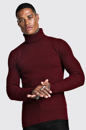 Wine Muscle Fit Long Sleeve Ribbed Knitted Roll Neck