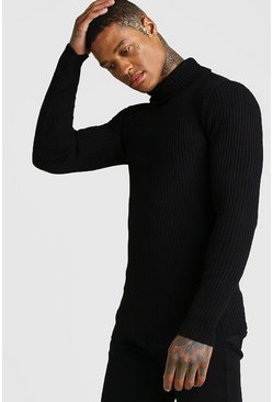 Mens Black Muscle Fit Long Sleeve Ribbed Knitted Roll Neck
