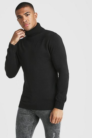 Black Muscle Fit Long Sleeve Knitted Roll Neck Jumper