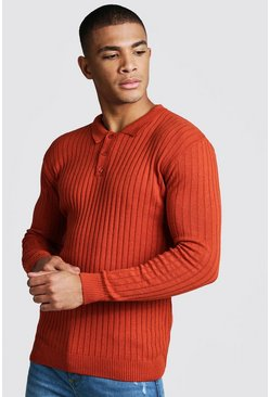 Mens Rust Muscle Fit Long Sleeve Ribbed Knitted Polo