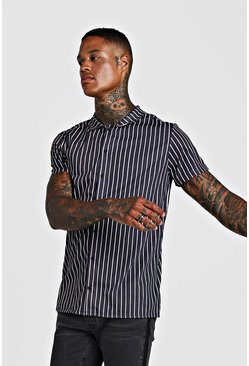 Mens Black Short Sleeve Revere Stripe Shirt